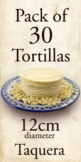 Tortillas - White Corn Taquera 12cm 30 Pack