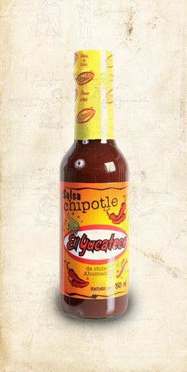 Bottle of El Yucateco Mexican chipotle salsa sold online via El Cielo
