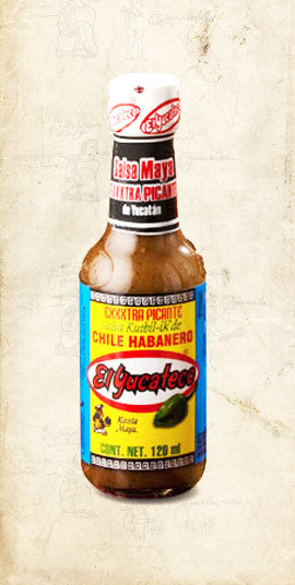 Bottle of Mayan Mexican eXXXtra hot habanero sold online via El Cielo