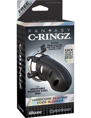 Fantasy C-Ringz Hardcore Silicone Cock Blocker - Black