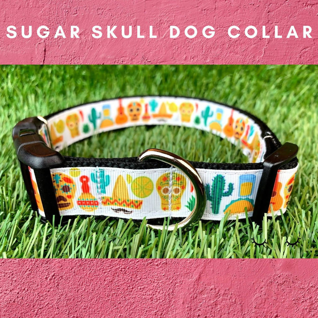 White Sugar Skull Dog Collar