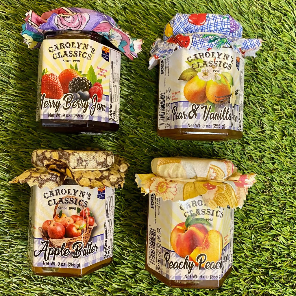 Uptown Market Fave Pack (Peach Jam, Merry Berry Jam, Pear Vanilla Jam, and Apple Butter)