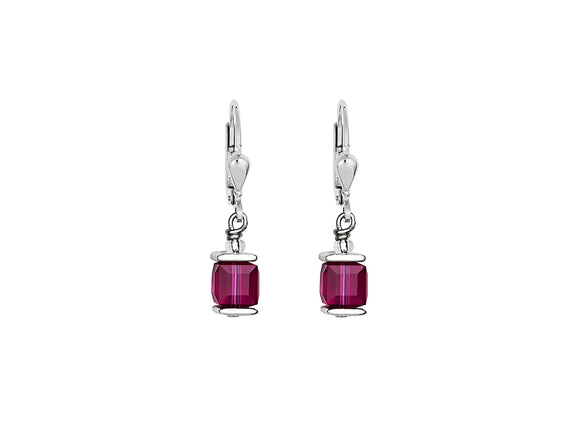 Coeur de Lion Swarovski Purple/Silver Earrings