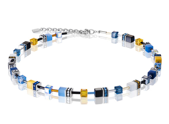 Coeur de Lion Geo-Cube Sky Blue/White Necklace