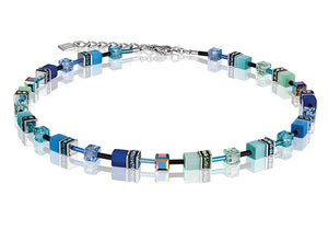 Coeur de Lion Geo-Cube Blue/Green Necklace