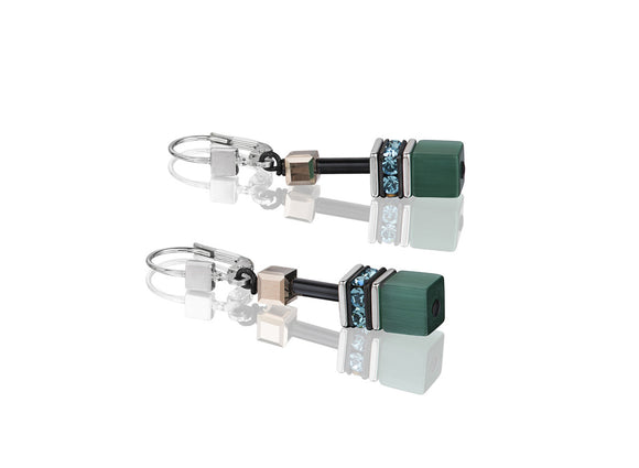 Coeur de Lion Geo-Cube Green Petrol Earrings