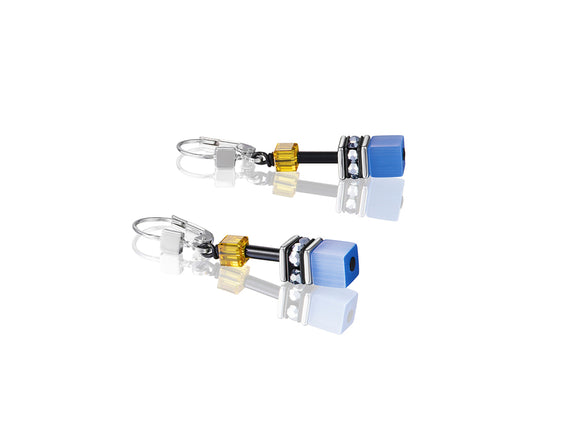 Coeur de Lion Geo-Cube Blue/White Earrings