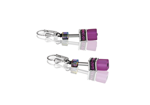 Coeur de Lion Geo-Cube Pink/Purple Earrings