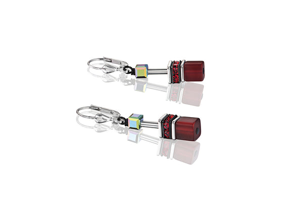 Coeur de Lion Geo-Cube Red Earrings