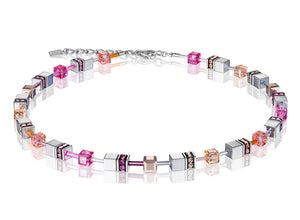 Coeur de Lion Geo-Cube Pink/Silver Necklace