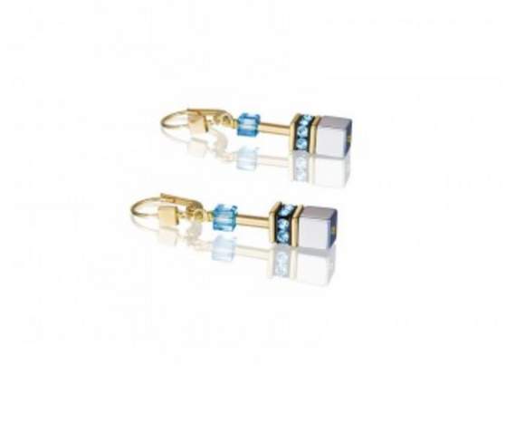 Coeur de Lion Geo-Cube Blue/Gold Earrings