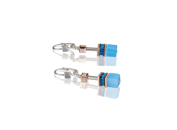 Coeur de Lion Geo-Cube Cornflower Blue Earrings