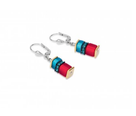 Coeur de Lion Geo-Cube Red/Blue Earrings