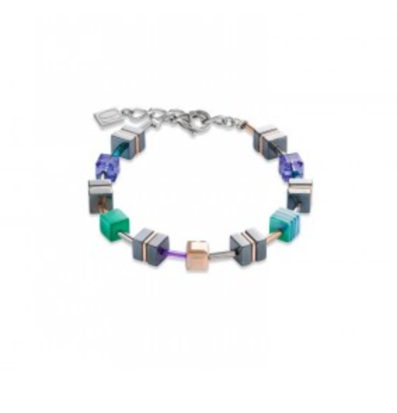 Coeur de Lion Geo-Cube Emerald Green/Purple Bracelet