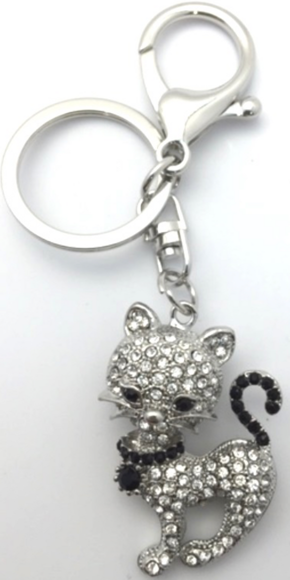 Silver Cat Key Ring