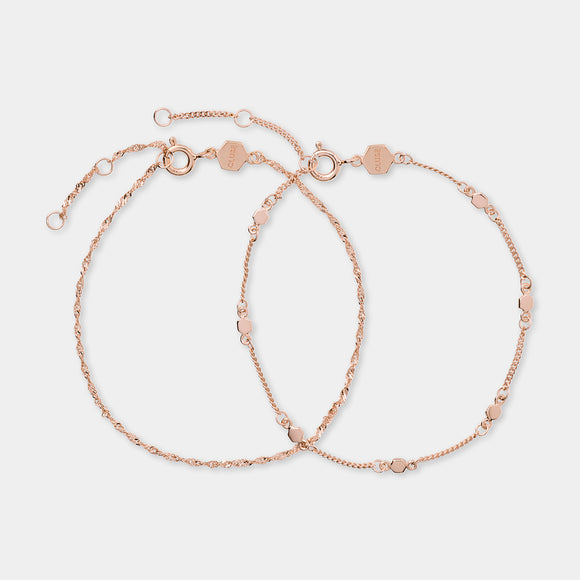 CLUSE Essentielle Rose Gold Set Twisted and Hexagon Chain Bracelet