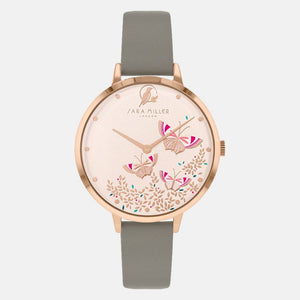 Sara Miller London Rose Gold/Grey Butterfly Watch