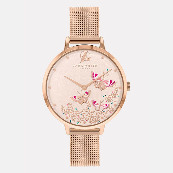 Sara Miller London Rose Gold Butterfly Watch