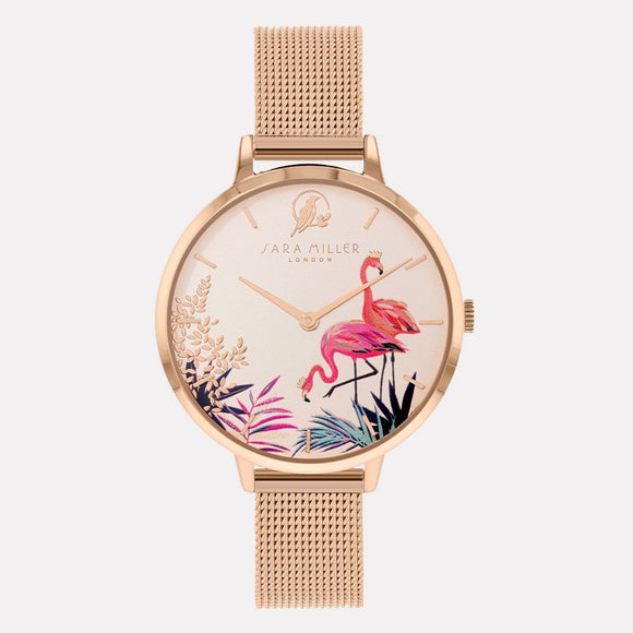 Sara Miller London Rose Gold Flamingo Watch