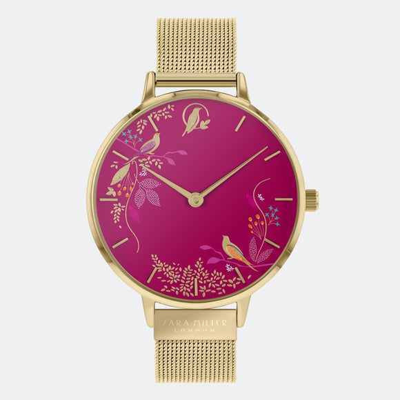 Sara Miller London Gold/Pink Birds Watch