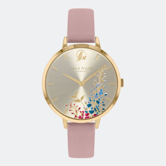 Sara Miller London Gold/Pink Wisteria Watch