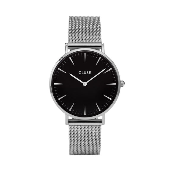 CLUSE Ladies La Boheme Mesh Silver/Black Watch