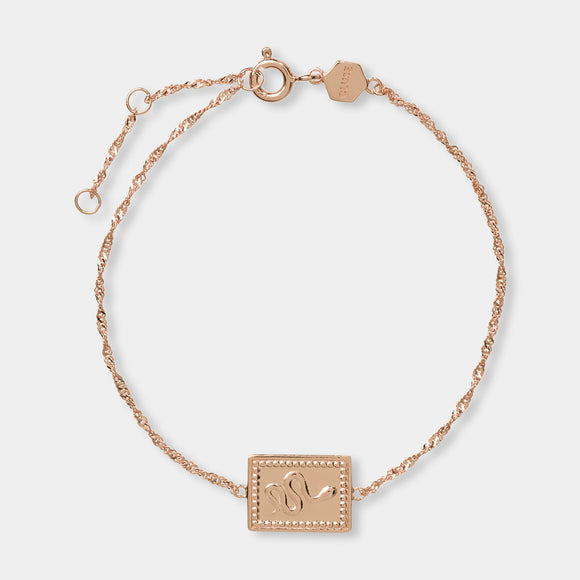 CLUSE Force Tropicale Rose Gold Twisted Chain Tag Bracelet