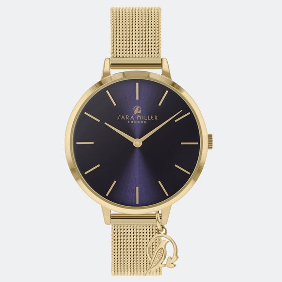 Sara Miller London Gold/Navy Charm Watch