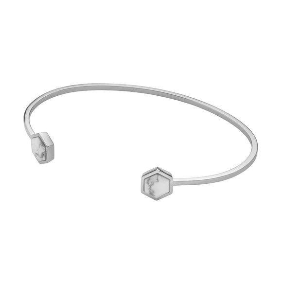 CLUSE Idylle Silver Marble Hexagons Open Cuff Womens Bracelet