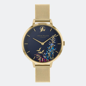 Sara Miller London Gold/Navy Wisteria Watch