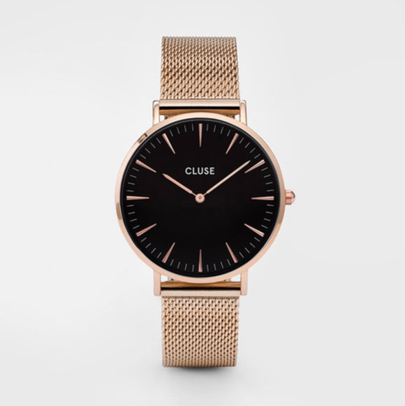 CLUSE Ladies La Boheme Mesh Rose Gold/Black Watch