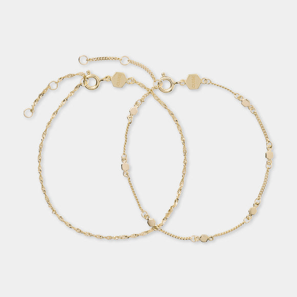 CLUSE Essentielle Gold Set Twisted and Hexagon Chain Bracelet
