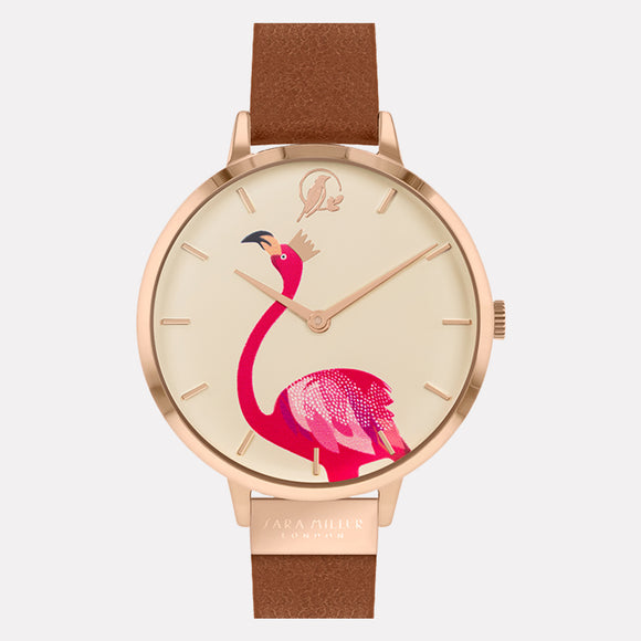 Sara Miller London Gold/Tan Flamingo Watch