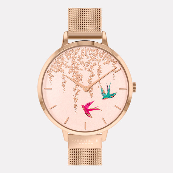 Sara Miller London Rose Gold Swallow Watch