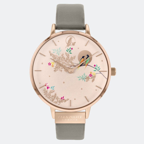 Sara Miller London Birds in Moon Rose Gold Watch