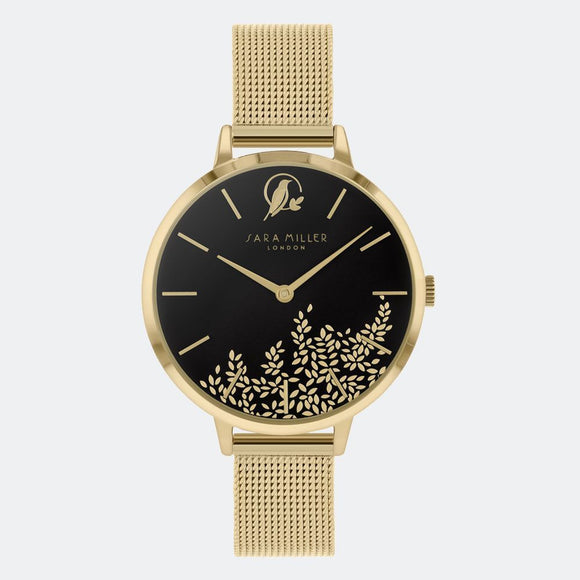 Sara Miller London Gold/Black Leaf Watch