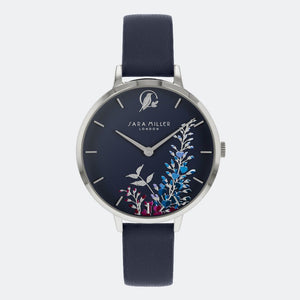Sara Miller London Silver/Navy Wisteria Watch