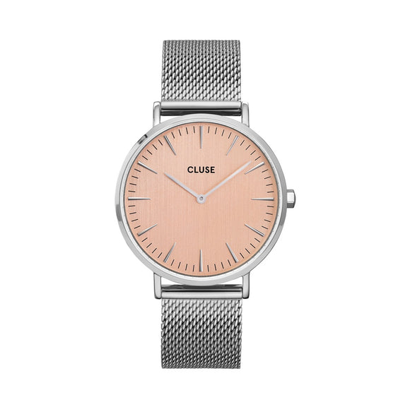CLUSE Ladies La Boheme Silver/Rose Mesh Watch