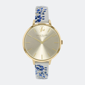 Sara Miller London Gold/Blue Wisteria Watch