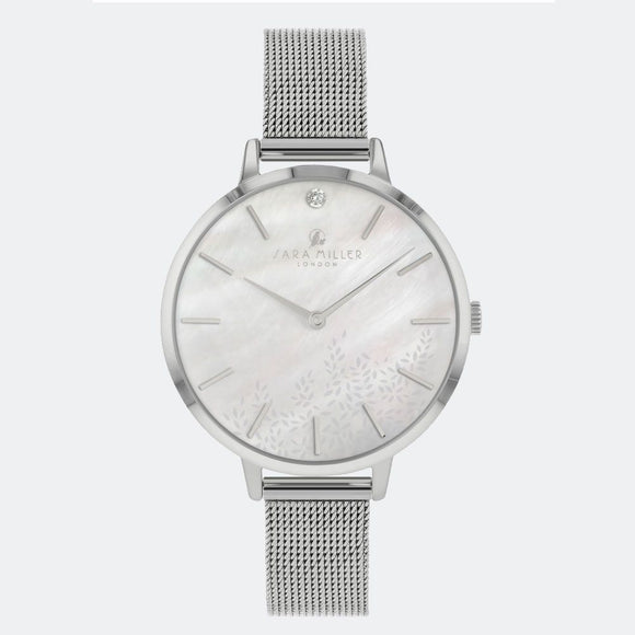 Sara Miller London Silver Diamond Leaf Watch