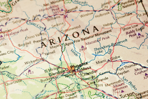 A map showing Arizona and surrounding states