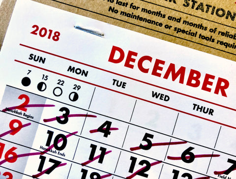 A calendar used for tracking a successful 30-day Delta-8-THC tolerance break.
