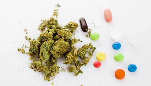 An image showing natural cannabis material and a variety of synthetic substances.