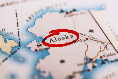 A map with Alaska circled in red pen