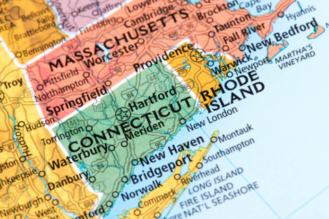 A U.S. map showing Connecticut and surrounding states