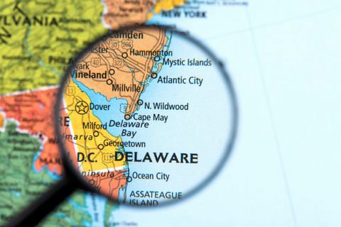 A map showing Delaware and surrounding states