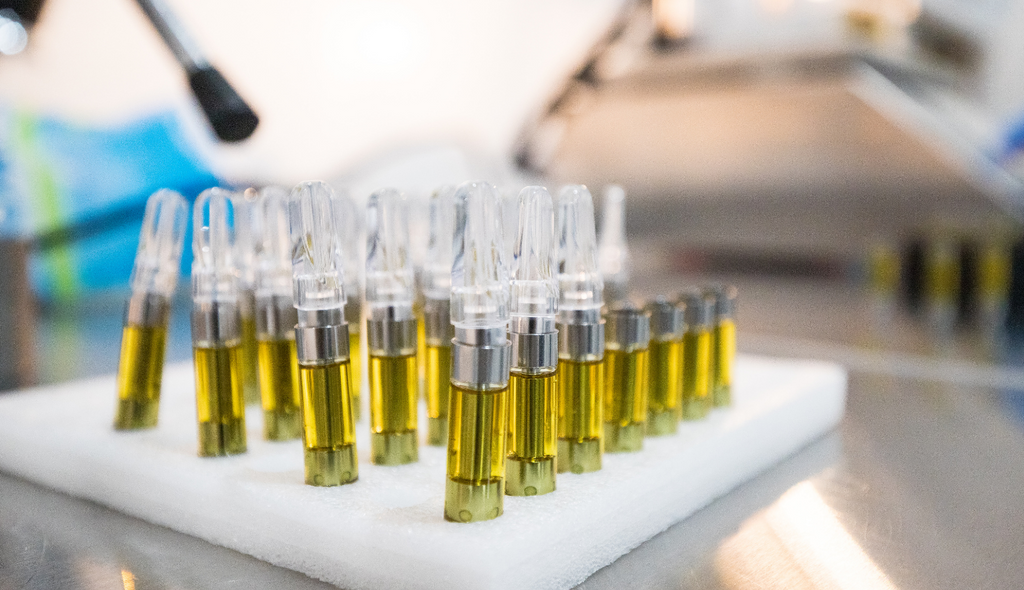 A tray of Delta 8 THC carts just after being filled by the manufacturer.