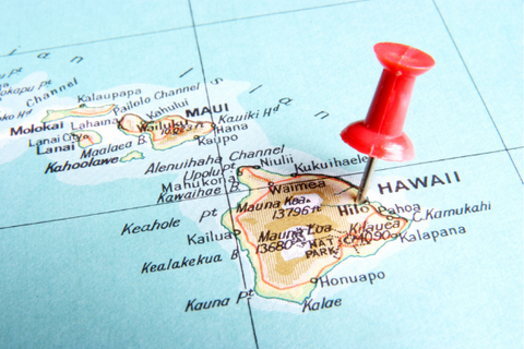 A map zoomed in on Hawaii