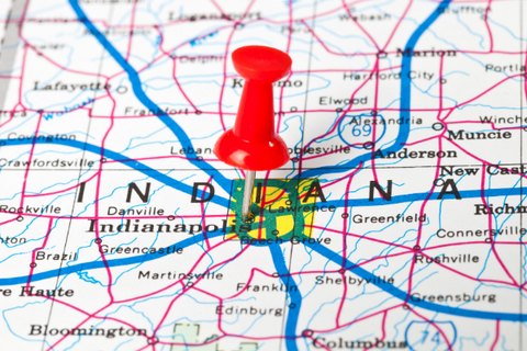 A map with a push pin marking Indiana