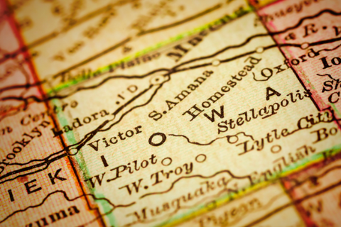 A U.S. map zoomed in on Iowa